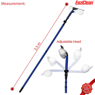 3.5 Meter Telescopic Window Cleaning Extendable Soft Head Pole Cleaner Kit • 14.99£
