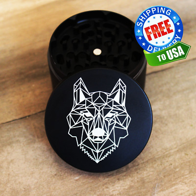 Large Geometric Wolf Matte Black 4-Layer Metal Grinder For Tobacco, Herb, Spices • 11.55£
