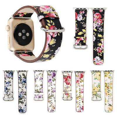 $ CDN6.16 • Buy 38/42/40/44mm Floral IWatch Leather Band Strap For Apple Watch Series 6 5 4-1 SE