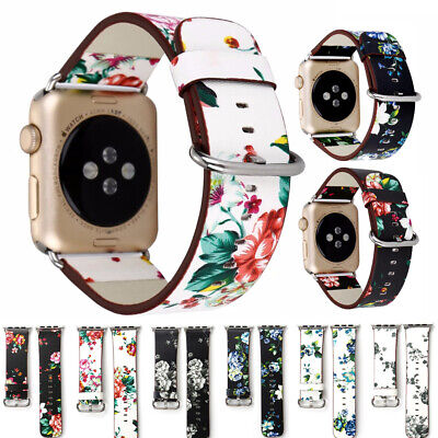 $ CDN6.74 • Buy 40/44mm 38/42mm Women Floral Leather Band Strap For Apple Watch Series 5 4 3 2 1
