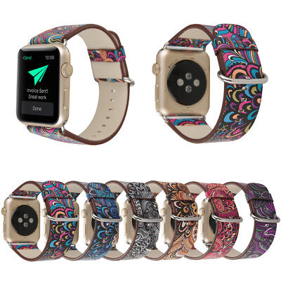 $ CDN6.12 • Buy 40/44/38/42mm Floral Leather Band Women Strap For Apple Watch 6 5 4 3 IWatch SE