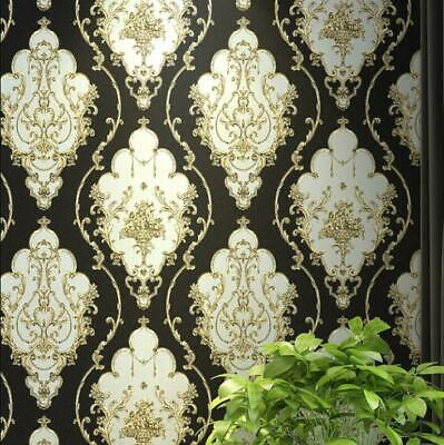 Black Royal Floral Damask Wallpaper Vinyl  • 12.99£