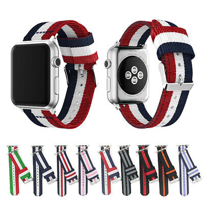 $ CDN6.17 • Buy 38/42/40/44mm Nylon Stripe Strap Sport Band For Apple Watch Series 6 5 4 3-1 SE