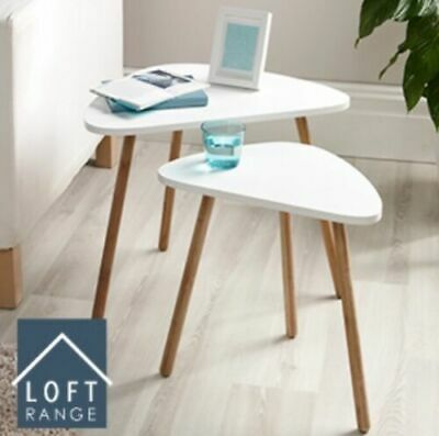 New Home Decor Bedroom White Side Coffe Activity Loft Nesting Table Set Of 2 • 39.99£