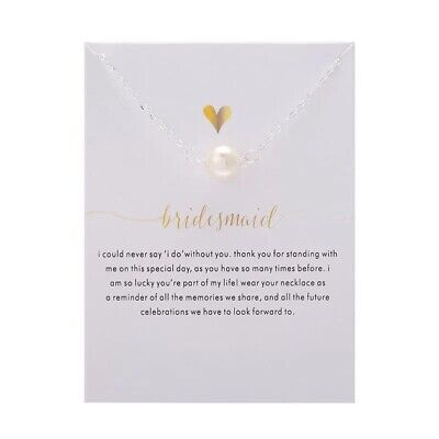 UK Wedding Gift For Bridesmaid Thank You Silver Faux Pearl Necklace B13 • 3.80£