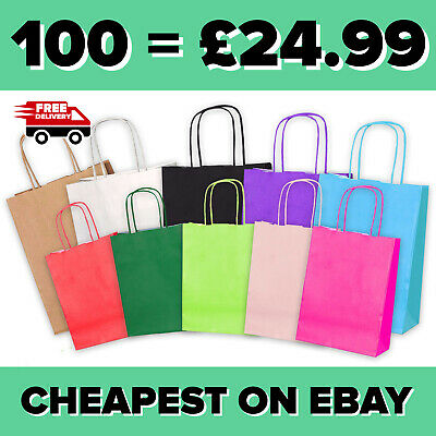 £2.99 • Buy Paper Bags Party Bags Gift Bag Twisted Handles Birthday Wedding Brown Paper Bags