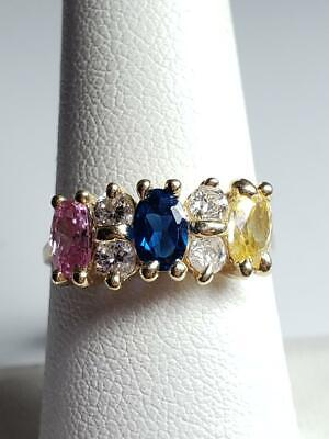 $169.99 • Buy Lady's Stone Mothers Ring 14K Solid Yellow Gold 2.7g Sz 7 Blue Pink (EL1052662)