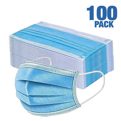 $49.99 • Buy 100 PCS Face Mask Medical Surgical Dental Disposable 3-Ply Earloop Mouth Cover