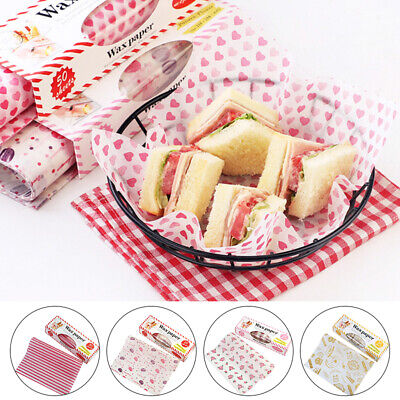 £1.99 • Buy 50Pcs Food Wrapping Wax Paper Hambur Sandwich Bread Candy Wrap Paper Disposable