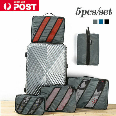 AU16.99 • Buy 5pcs Packing Cubes Travel Storage Bags Luggage Suitcase Clothes Organiser Pouch