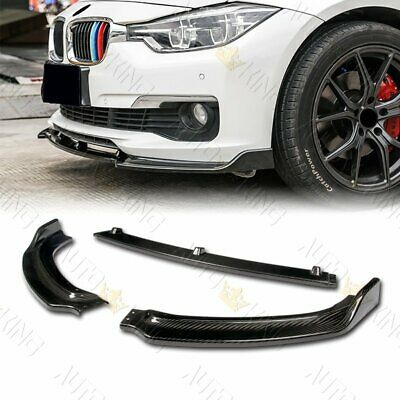 AU261.18 • Buy Real Carbon Fiber Front Bumper Lip 3-pcs Fit 13-18 Bmw F30 3-series Sedan Base