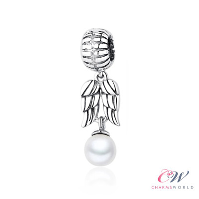 Angel Wings Pearl Charm Genuine 925 Sterling Silver For Charm Bracelet 💞  • 15.99£