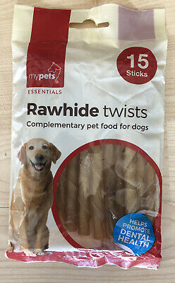 'My Pets' Rawhide Twists - 15 Sticks Per Packet -Complimentary Pet Food For Dogs • 3.99£