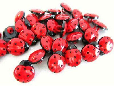 50x 15mm Red Ladybird 1 Hole Plastic Buttons For Sewing Crafts Ladybug Round • 3.05£