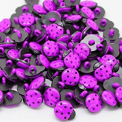 50x 15mm Coloured Ladybird 1 Hole Plastic Buttons Sewing Crafts Ladybug Round • 2.99£