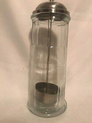 $10 • Buy Straw Holder Dispenser Heavy Glass Chrome Metal Lid Lifter By Circle Glass_Used
