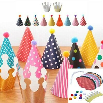 11Pcs Party Hats For Kids Paper Birthday Party Hats 9 Hats And 2 Crowns UK • 3.99£
