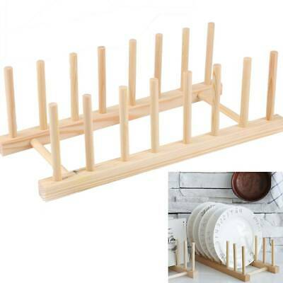 £5.19 • Buy 7 Wooden Dishes Plate Rack Drying Drainer Board Rack Stand Holder