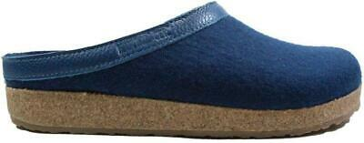 Haflinger Grizzly Navy Wool/Leather Adult Slip On Mule Slippers • 63.99£