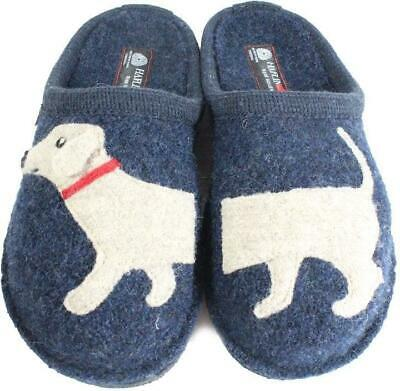 Haflinger Doggy Navy Wool With Dog Motif Womens Slip On Mule Slippers • 53.99£
