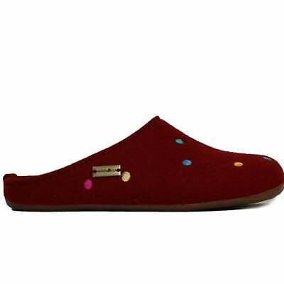Haflinger Noblesse Red Spotted Wool Womens Slip On Mule Slippers • 63.99£