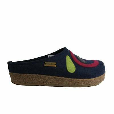 Jette Navy Wool With Multi Coloured Pattern Womens Slip On Mule Slippers • 68.99£