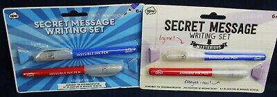 TWO X SECRET MESSAGE INVISIBLE WRITING SETS 4 PENS 2 Red 2 Blue WITH UV LIGHTS • 3.69£