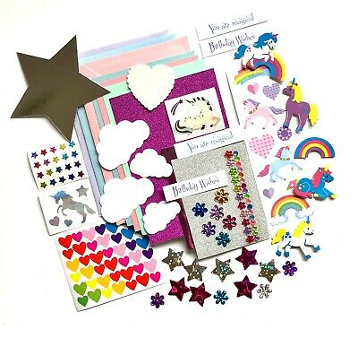 Unicorn Card Making Kit, Children's Craft Kit, Unicorn Stickers, Card Making Set • 4.80£