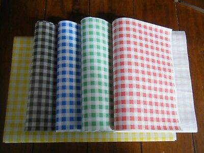 50 Gingham/Check Duplex Food Wrap Paper Greaseproof/Wax Chip Basket Xmas Liner   • 5.99£