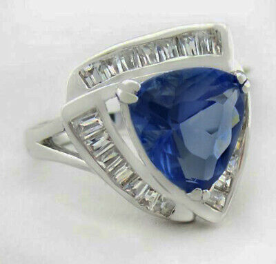 £21.85 • Buy TANZANITE 6.72 Cts & WHITE SAPPHIRES RING Silver Plated * New With Tag *