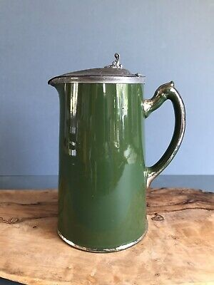 Victorian Stoneware Hot Water Jug With Hinged Metal Lid  • 12£