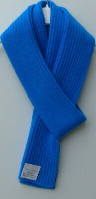 Pure Cashmere Knitted Scarf - Ladies Wide Fine Rib  16x170cm -Kingfisher Blue  • 25£
