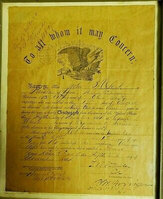 $210 • Buy 1864 CIVIL WAR Union Discharge Paper OHIO Infantry Stamped Bounty Paid 1867 LOOK