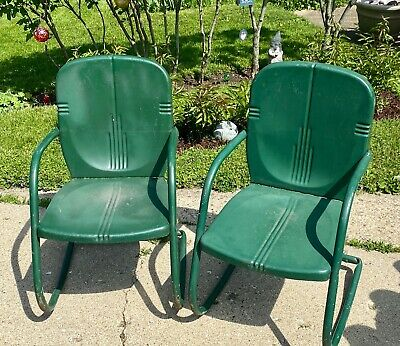 $350 • Buy 2 Mid Century VTG Metal Outdoor Porch Patio Lawn Cabin Rocking Rocker Chairs VGC