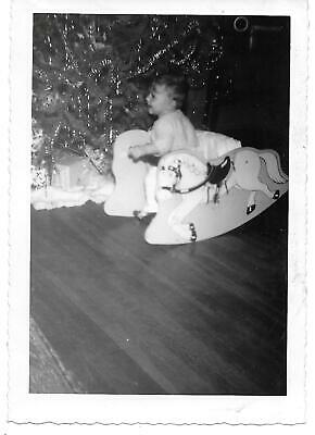 $1 • Buy Baby At Christmas Sitting In Rocking Horse Play Seat,vintage 1950's Photograph