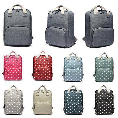 Girls Boys Backpack Polka Dots School Travel Rucksack Laptop Tote Oilcloth Bag • 9.99£