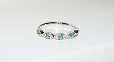 AU999 • Buy .14ct White Gold Alexandrite Eternity Ring Size P June Birthstone