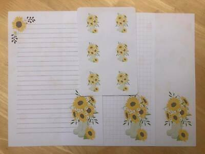 £4.75 • Buy Sunflower Stationery - 25 Sheet Letter Writing Paper & 6 Stickers Set