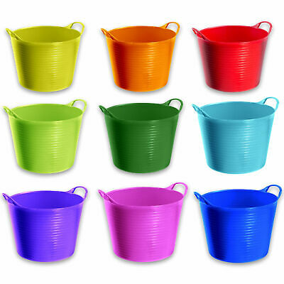 2 X 14 Litre Flexi Tub Home Garden Flexible Storage Colour Bucket Basket Box New • 8.79£