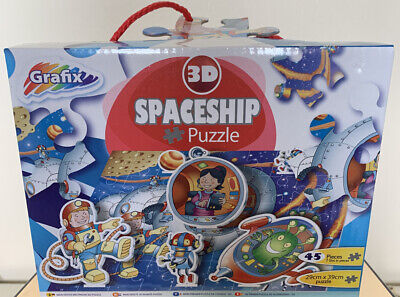 ** Spaceship 3D Outer Space 45 Piece Jigsaw Puzzle ** • 5.99£