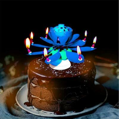 $ CDN3.39 • Buy Blue Lotus Flower Electronic Music Happy Birthday Candle Decor Party Q5K1