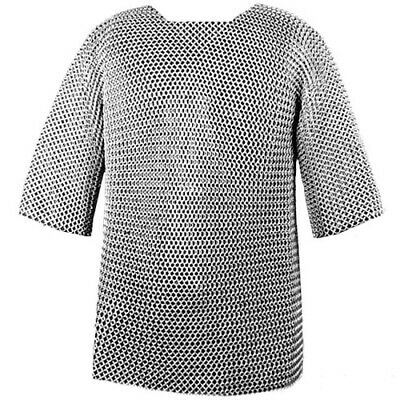 Medieval 16 Gauge Mild Steel Chainmail Haubergeon Butted Chain Mail • 99£