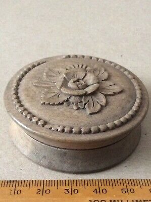 £28 • Buy Round Wooden Snuff Box With Carved Rose To Lid. Tight Fit .
