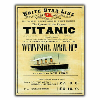 Titanic Retro Vintage Plaque Ship Boat Advertising Poster Wall Decor Metal SIGN • 4.99£