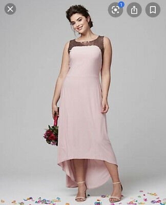 Simply Be Joanna Hope Sequin Trim High Low Dress Blush Pink Size 28 UK BNWT • 24.99£