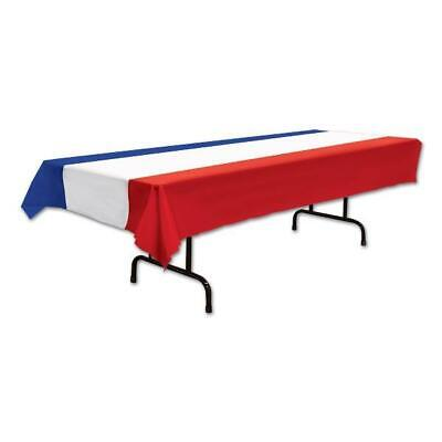 British French America Plastic Tablecover 137cm X 274cm Of Red White & Blue • 6.99£