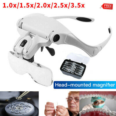 Magnifying Glasses LED Headband With Light Hands Free Headset Magnifier Lam Head • 12.99£
