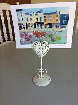 £6.99 • Buy Shabby Chic Distressed Metal Heart Photo Holder Stand Romantic French Country