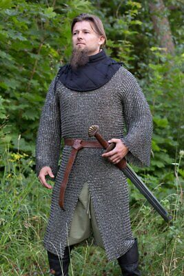Medieval Riveted Chainmail Steel Chain Mail Long Sleeve LARP SCA Reenactment • 145.12£