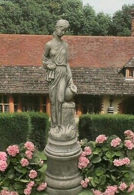 Stone  Jug Lady And Plinth Garden Outdoor Statue • 214.17£